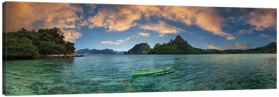 Boat In Lagoon With Mountain In The Background, El Nido, Palawan, Philippines Canvas Art Print