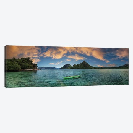 Boat In Lagoon With Mountain In The Background, El Nido, Palawan, Philippines Canvas Print #PIM14297} by Panoramic Images Canvas Art Print