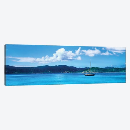 Boat In The Sea, Round Bay, East End, Saint John, U.S. Virgin Islands I Canvas Print #PIM14298} by Panoramic Images Canvas Artwork