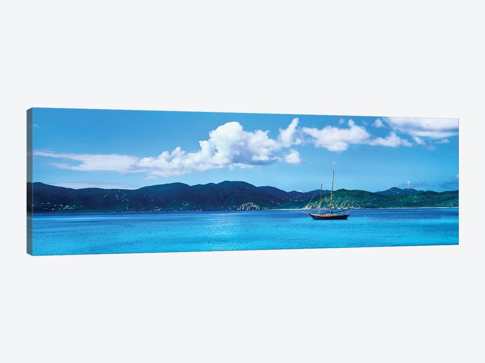 Boat In The Sea, Round Bay, East End, Saint John, U.S. Virgin Islands I 1-piece Canvas Art