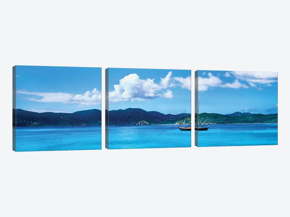 Boat In The Sea, Round Bay, East End, Saint John, U.S. Virgin Islands I 3-piece Canvas Wall Art