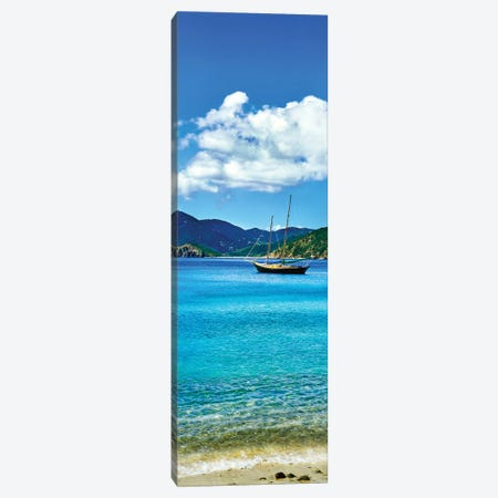 Boat In The Sea, Round Bay, East End, Saint John, U.S. Virgin Islands II Canvas Print #PIM14299} by Panoramic Images Canvas Artwork