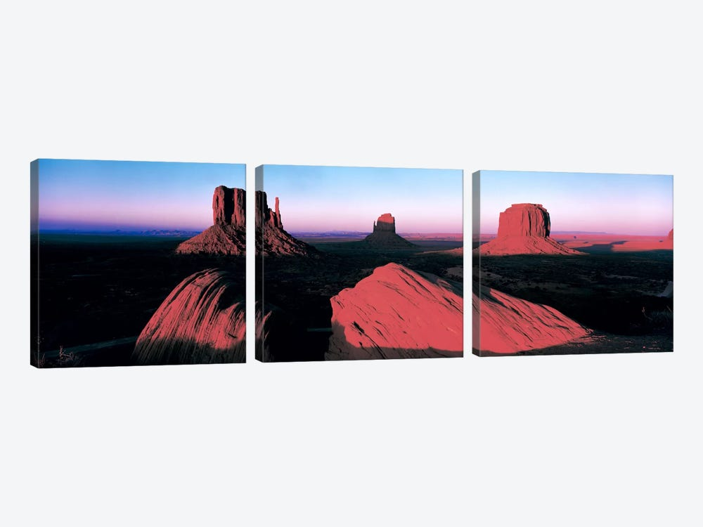 Sunset At Monument Valley Tribal Park, Utah, USA by Panoramic Images 3-piece Canvas Print