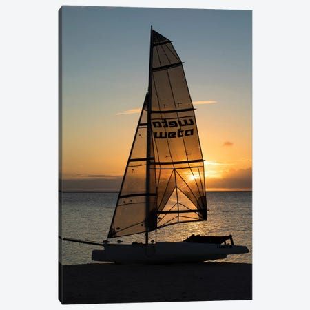 Boat On The Beach At Sunset, Bora Bora, Society Islands, French Polynesia Canvas Print #PIM14300} by Panoramic Images Canvas Artwork