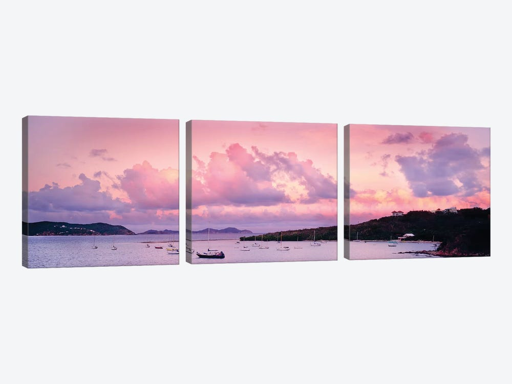 Boats In The Sea, Coral Bay, Saint John, U.S. Virgin Islands by Panoramic Images 3-piece Art Print