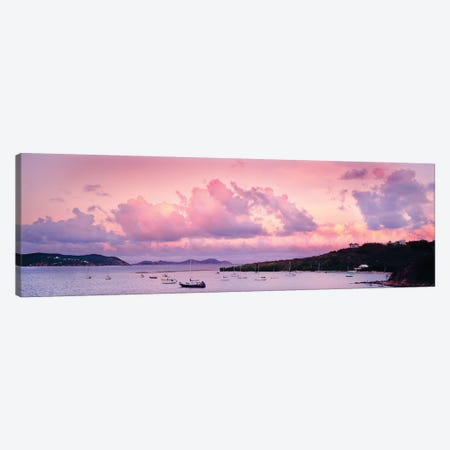 Boats In The Sea, Coral Bay, Saint John, U.S. Virgin Islands 3-Piece Canvas #PIM14301} by Panoramic Images Canvas Art