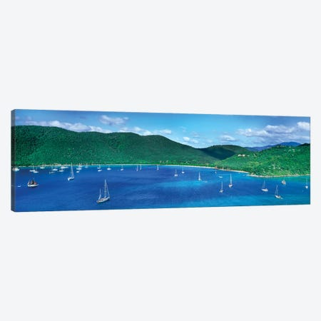 Boats In The Sea, Maho And Francis Bays, North Shore, Saint John, U.S. Virgin Islands Canvas Print #PIM14302} by Panoramic Images Canvas Art