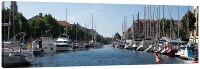 Boats Moored Along Canal, Copenhagen, Denmark Canvas Art Print