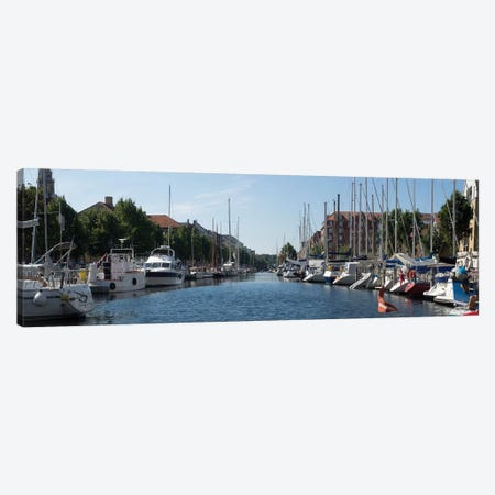 Boats Moored Along Canal, Copenhagen, Denmark 3-Piece Canvas #PIM14303} by Panoramic Images Canvas Artwork