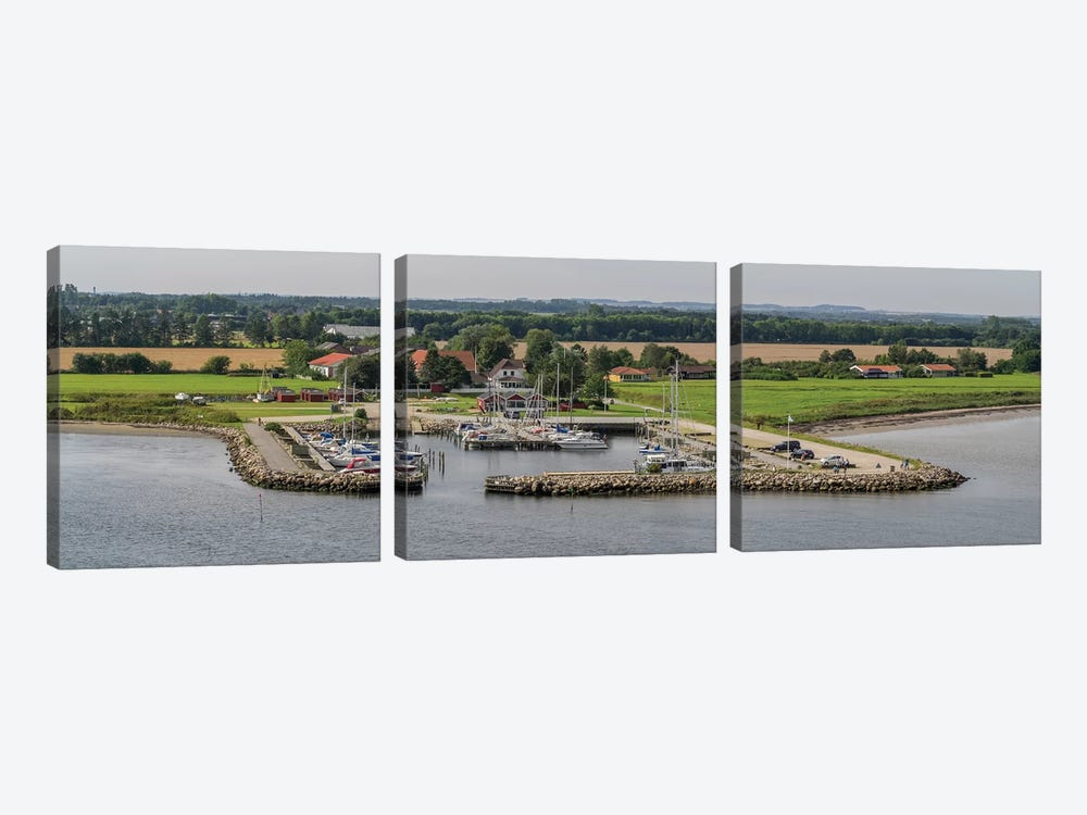 Boats Moored At Harbor With Village In The Background, Limfjord, Jutland, Denmark by Panoramic Images 3-piece Canvas Artwork
