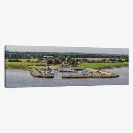 Boats Moored At Harbor With Village In The Background, Limfjord, Jutland, Denmark 3-Piece Canvas #PIM14304} by Panoramic Images Canvas Print