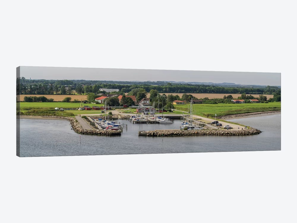 Boats Moored At Harbor With Village In The Background, Limfjord, Jutland, Denmark by Panoramic Images 1-piece Canvas Artwork