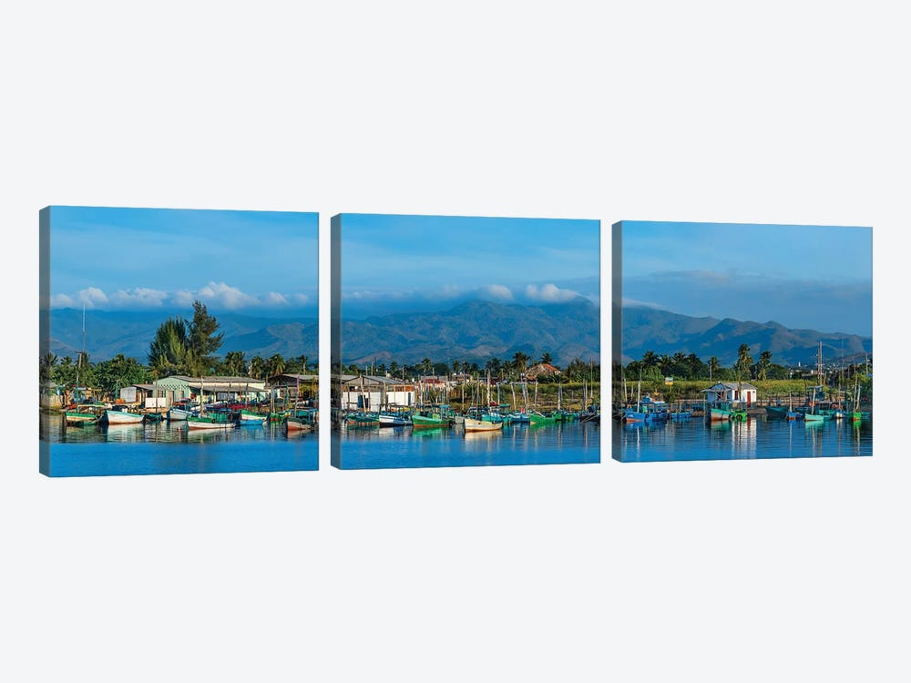Boats Moored In Harbor, Trinidad, Cuba II by Panoramic Images 3-piece Canvas Art