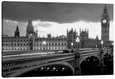 Bridge Across A River, Westminster Bridge, Houses Of Parliament, Big Ben, London, England Canvas Art Print