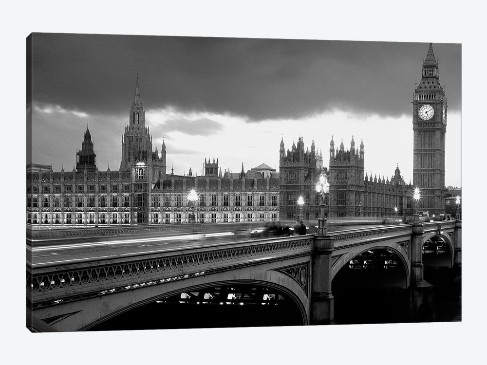 Bridge Across A River, Westminster Bridge, Houses Of Parliament, Big Ben, London, England by Panoramic Images 1-piece Canvas Print