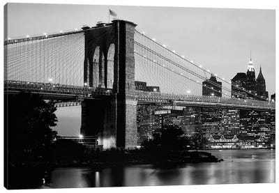Brooklyn Bridge Across The East River At Dusk, Manhattan, New York City, New York State, USA Canvas Art Print