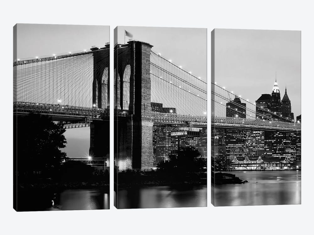 Brooklyn Bridge Across The East River At Dusk, Manhattan, New York City, New York State, USA by Panoramic Images 3-piece Art Print