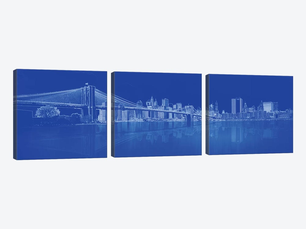 Brooklyn Bridge Over East River, New York City, USA I by Panoramic Images 3-piece Canvas Art