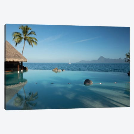 Bungalows And Palm Trees On The Coast, Bora Bora, Society Islands, French Polynesia 3-Piece Canvas #PIM14317} by Panoramic Images Canvas Art