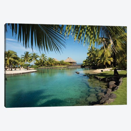 Bungalows And Palm Trees On The Coast, Moorea, Tahiti, French Polynesia Canvas Print #PIM14318} by Panoramic Images Canvas Art Print