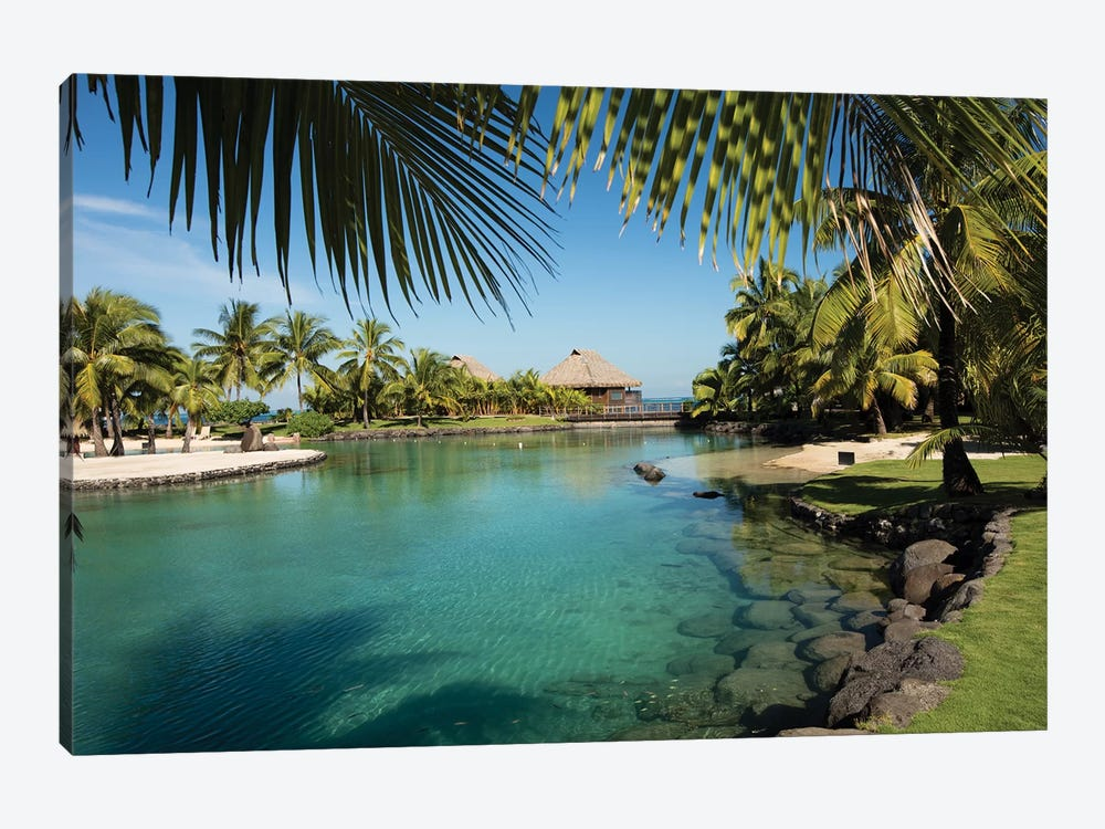 Bungalows And Palm Trees On The Coast, Moorea, Tahiti, French Polynesia 1-piece Canvas Print