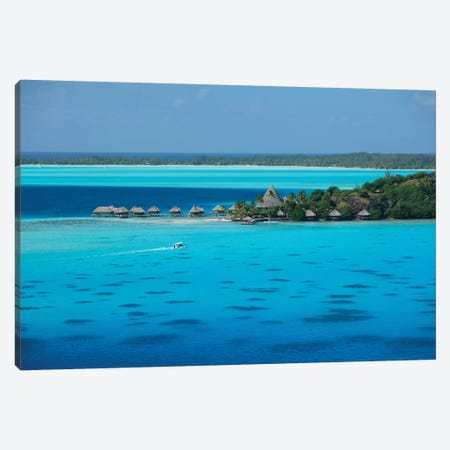 Bungalows On The Beach, Bora Bora, Society Islands, French Polynesia I Canvas Print #PIM14319} by Panoramic Images Art Print