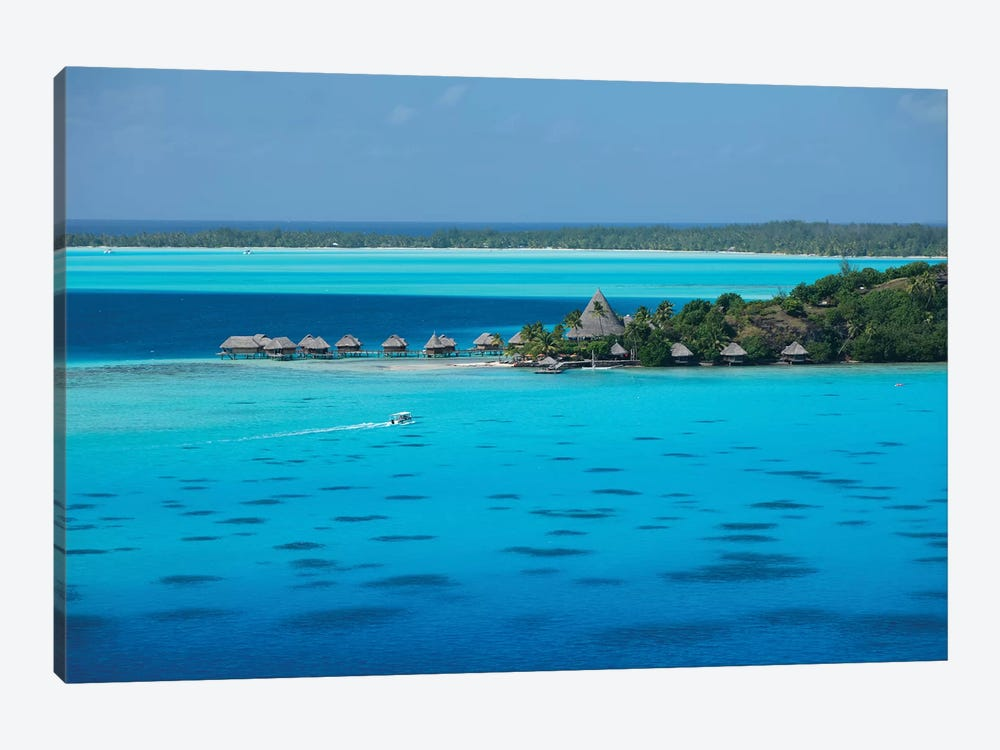 Bungalows On The Beach, Bora Bora, Society Islands, French Polynesia I by Panoramic Images 1-piece Canvas Wall Art