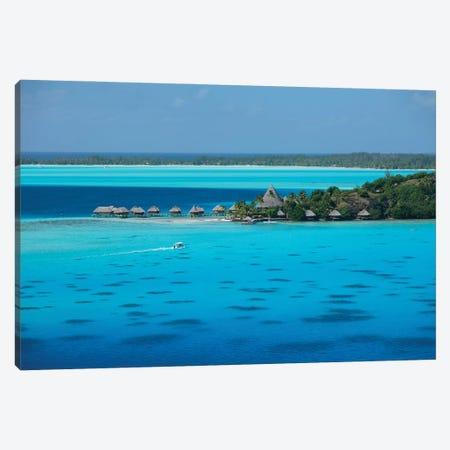Bungalows On The Beach, Bora Bora, Society Islands, French Polynesia I 3-Piece Canvas #PIM14319} by Panoramic Images Art Print