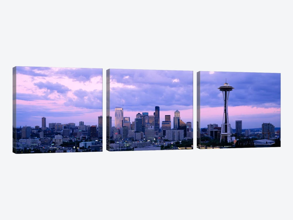 Skyscrapers in a city, Seattle, Washington State, USA by Panoramic Images 3-piece Canvas Print