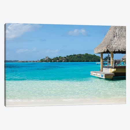 Bungalows On The Beach, Bora Bora, Society Islands, French Polynesia II 3-Piece Canvas #PIM14320} by Panoramic Images Canvas Art