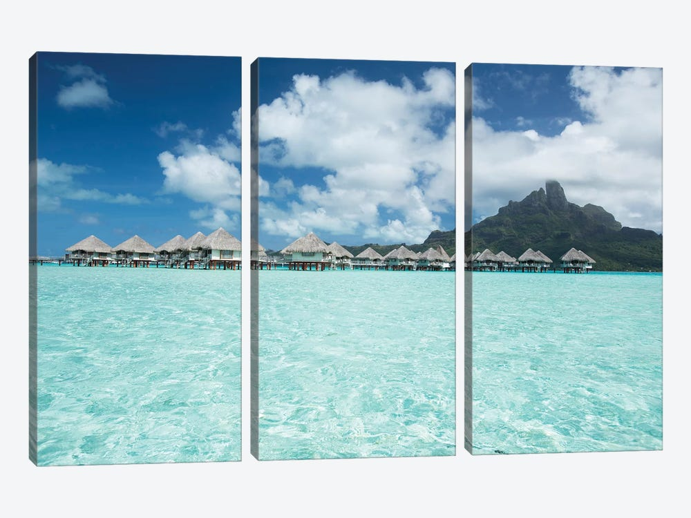 Bungalows On The Beach, Bora Bora, Society Islands, French Polynesia III by Panoramic Images 3-piece Canvas Print