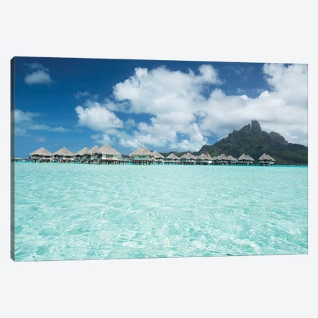 Bungalows On The Beach, Bora Bora, Society Islands, French Polynesia III 3-Piece Canvas #PIM14321} by Panoramic Images Canvas Wall Art
