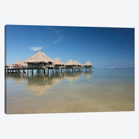 Bungalows On The Beach, Moorea, Tahiti, French Polynesia 3-Piece Canvas #PIM14322} by Panoramic Images Canvas Wall Art