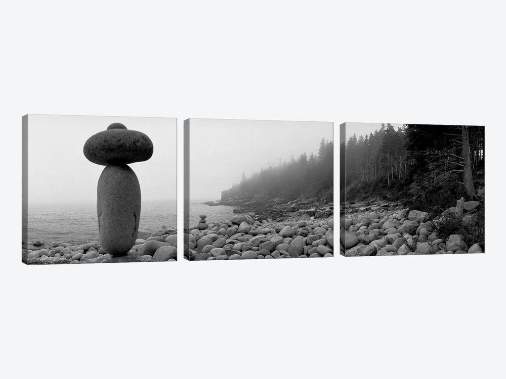 Cairn On The Rocky Beach, Acadia National Park, Maine, USA (Black And White) by Panoramic Images 3-piece Art Print