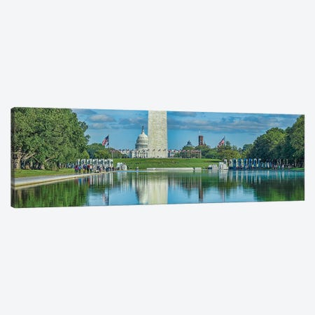 Capitol Building With Washington Monument And National World War II Memorial, Washington D.C., USA Canvas Print #PIM14330} by Panoramic Images Canvas Print