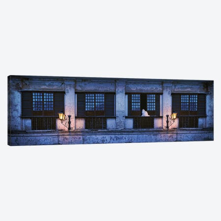 Cat Sitting On Window Sill Of Building, Vigan, Ilocos Sur, Philippines, Night Canvas Print #PIM14333} by Panoramic Images Canvas Art Print