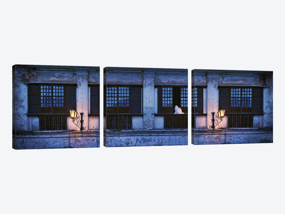 Cat Sitting On Window Sill Of Building, Vigan, Ilocos Sur, Philippines, Night by Panoramic Images 3-piece Canvas Wall Art