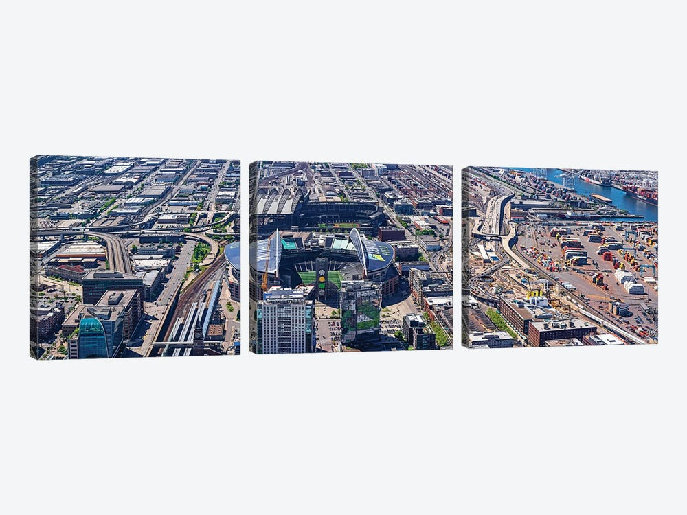 Centurylink Field And Safeco Field From Sky View Observatory - Columbia Center, Seattle, Washington State, USA by Panoramic Images 3-piece Canvas Art
