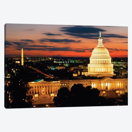 City Lit Up At Dusk, Washington D.C., USA Canvas Print #PIM14346} by Panoramic Images Canvas Print