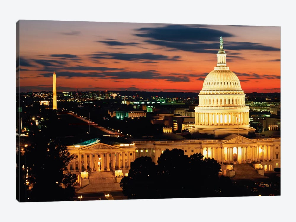 City Lit Up At Dusk, Washington D.C., USA by Panoramic Images 1-piece Canvas Art