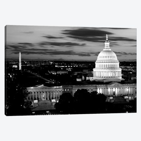 City Lit Up At Dusk, Washington D.C., USA (Black And White) Canvas Print #PIM14347} by Panoramic Images Art Print