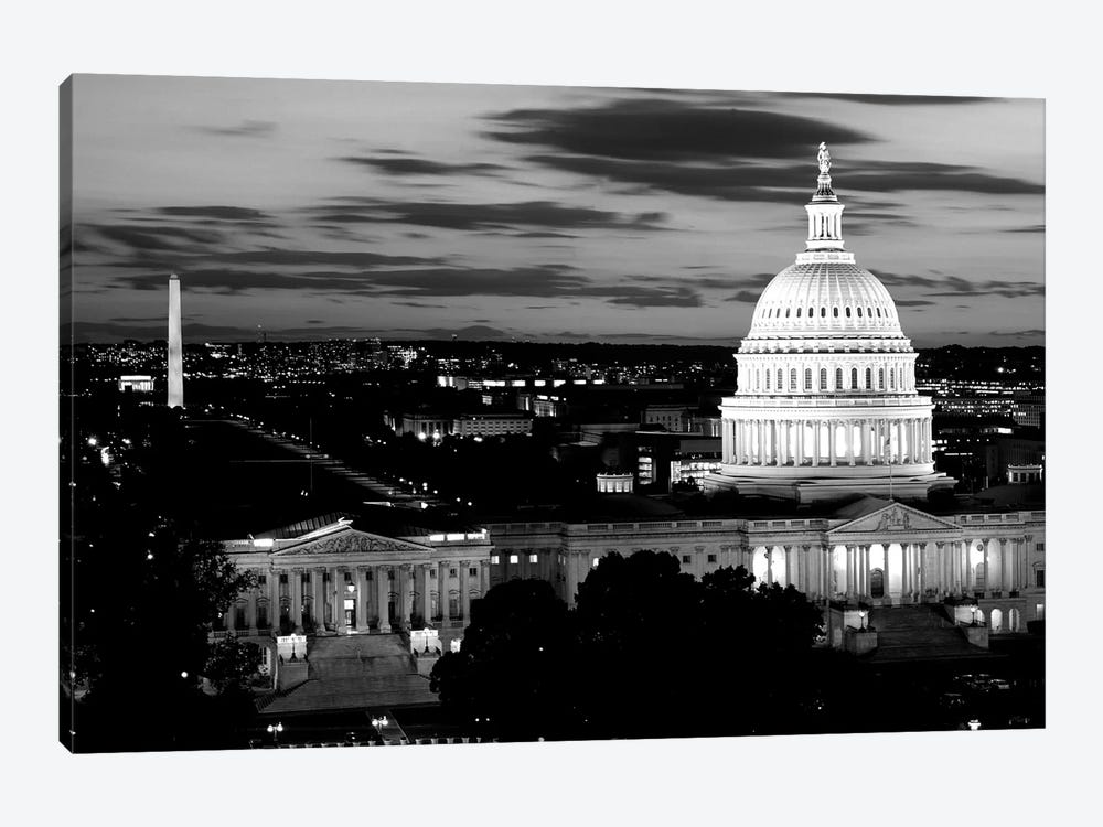 City Lit Up At Dusk, Washington D.C., USA (Black And White) by Panoramic Images 1-piece Canvas Print