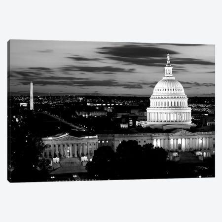 City Lit Up At Dusk, Washington D.C., USA (Black And White) Canvas Print #PIM14347} by Panoramic Images Art Print