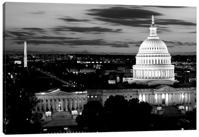 City Lit Up At Dusk, Washington D.C., USA (Black And White) Canvas Art Print