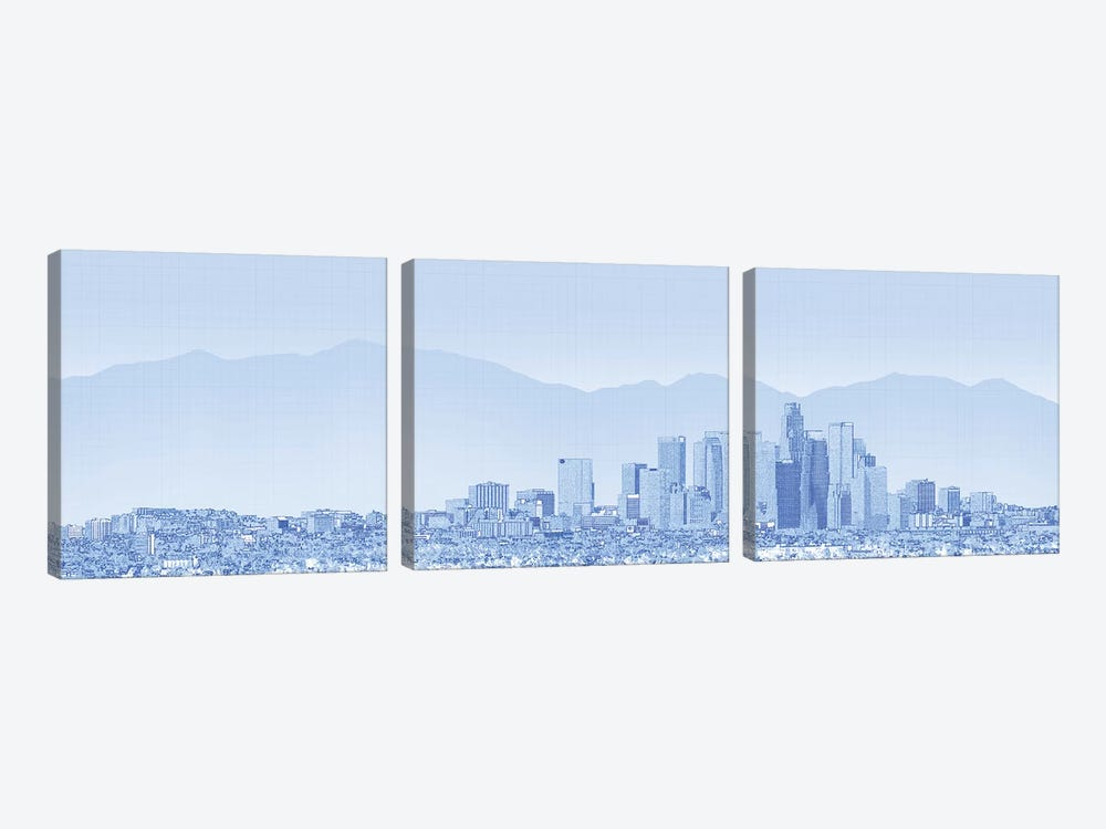 City Of Los Angeles, San Gabriel Mountains In Background, California, USA by Panoramic Images 3-piece Canvas Art Print