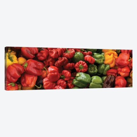 Close-Up Of Assorted Pepper For Sale At Market I Canvas Print #PIM14368} by Panoramic Images Canvas Artwork