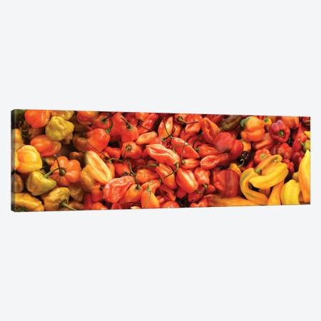 Close-Up Of Assorted Pepper For Sale At Market II Canvas Print #PIM14369} by Panoramic Images Canvas Art