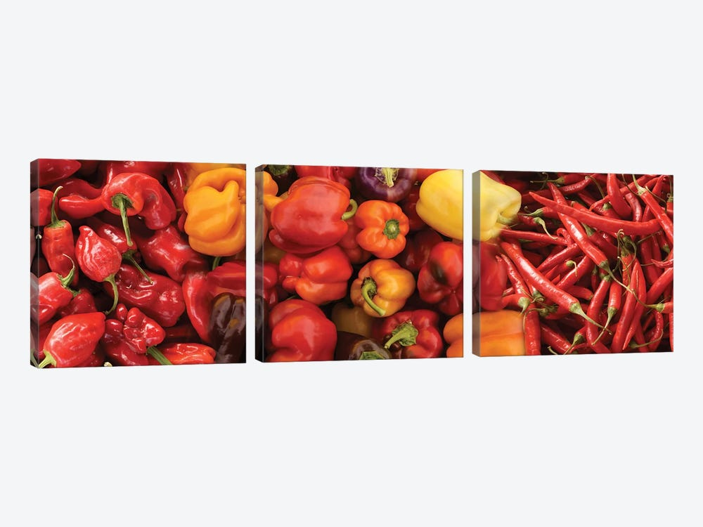 Close-Up Of Assorted Pepper For Sale At Market III by Panoramic Images 3-piece Canvas Art Print