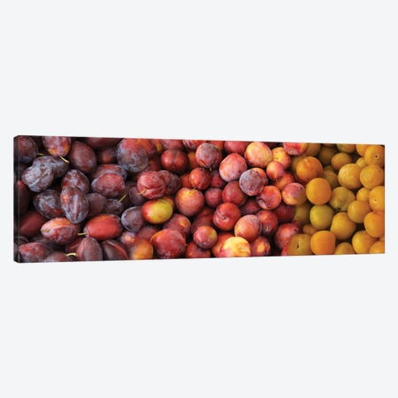 Close-Up Of Assorted Plums For Sale Canvas Print #PIM14372} by Panoramic Images Canvas Print