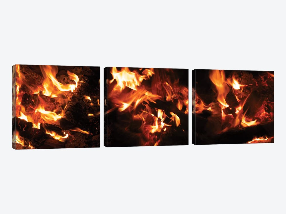 Close-Up Of Bonfire At Night I by Panoramic Images 3-piece Canvas Print